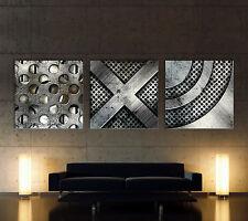 HEAVY METAL Leinwand Bilder Iron Art Kunstdruck Wandbild Abstrakt Schwarz Grau