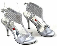Shoes Silver Heels UK 7.5 Diamante Ankle Cuff Strap Heels Party Evening Occasion
