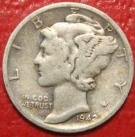1942-S Mercury Dime , Circulated  , 90% Silver US Coin