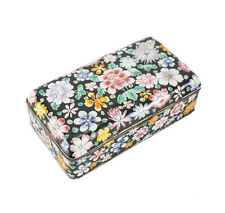 Chinese Hand painted Enamel on copper box Multi-colored flora c1900, black