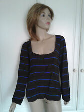 MARKS & SPENCER AUTOGRAPH WEEKEND STRIPED TOP SIZE 14 BNWT BROWN,BLACK BLUE