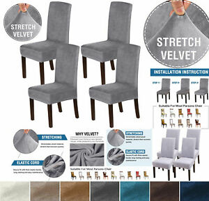 2/4/6PCS VELVET SOFT Elastic Stretch DINING CHAIR Seat COVER Protector Removable