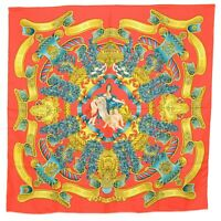 Authentic Hermes 100% Silk Scarf Carre 90 Shawl Cape Europe Red Gold France