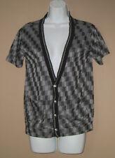 Womens Size Medium Short Sleeve Fall Fashion Checkered Knit Cardigan Top Shirt