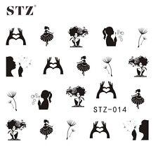 Black Nails Beautiful Art Water Transfer Decal Decoration Stickers Women STZ-014