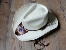 Strohhut Westernhut Cowboyhut Bandit Hut Stars & Stripes woll weiß mit Kinnband