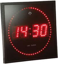 Horloge digitale murale avec 60 LED - Radiopilotée - Rouge - Lunartec