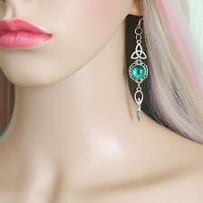 MOON GODDESS TRIQUETRA Earrings SS Ear Hooks Triple Goddess Jewellery Handmade