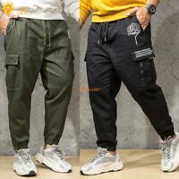 Men's Elastic Waist Jogger Casual Pants Cargo Loose Work Pants Plus Size XL-7XL