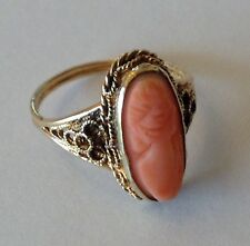 10K YELLOW GOLD SHELL CAMEO RING SIZE 4.5