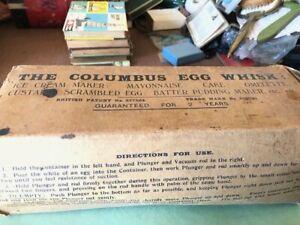 Vintage 1920's  Columbus Egg Whisk in original box