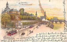 AK Litho. Gruss aus Dresden Kgl. Belvedere u. Moritzmonument Straßenbahn 1902