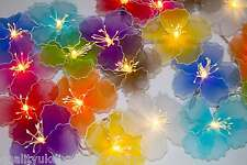 Mixed Colours Nylon Hibiscus Flower LED Fairy Light String 20 Flowers Long