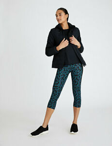 M&S GOODMOVE GO TRAIN CROPPED NAVY BLUE MIX GYM RUNNING ACTIVEWEAR LEGGINGS £25