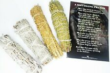 AQ Smudging - SMUDGE STICK PACK 4 Sticks - White, Blue & Desert Sage, Cedar