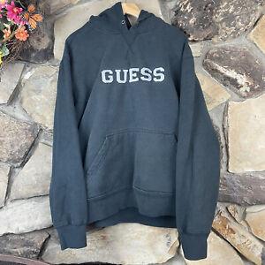 Vintage Y2K Guess Jeans Hoodie Sweatshirt Spellout Large Black