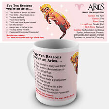 Aries Zodiac Gift Mug - Showing key characteristics of the star sign