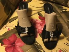 Claudia Ciuti Slide Black satin Sandals rhinestone buckle Sz 9 M EUC