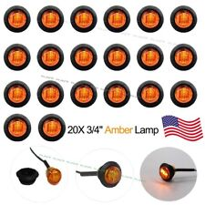 "20 New 3/4"" Amber LED Clearance Marker Bullet Truck Trailer Lights Lamp US Stock"