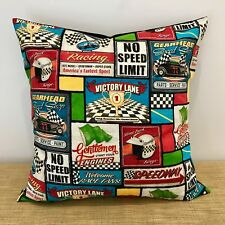 "MOTOR RACING Cushion Cover. Man Cave Decor Gift. Made Australia. 18"" (45cm)"
