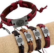 Wholesale Lot 12pcs Genuine Leather Peace pendant Bracelet for Gift
