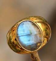 SOLID 925 STERLING SILVER GOLD PLATED LABRADORITE GEMSTONE MENS RING JEWELRY