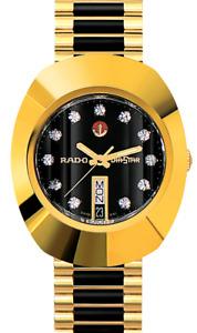 Vintage Rado Diastar Automatic Two-Tone Black Dial White Stone Men's Wrist Watch