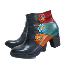 Ankle Boots for Women Leather Block Heel Boots Handmade Bohemian Ethnic Boots