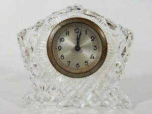 Lovely Small Vintage Retro Cut Crystal Clock Glass Repair Parts Dressing Table