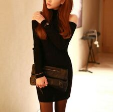 New Women girl Fashion Korean Fall Winter Knit Dress Hip Pack Sexy Turtleneck