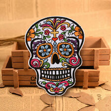 Colorful Skull Flower Embroidery Sew On Iron On Patch Badge Bag Fabric Applique