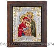"HOLY FAMILY Catholic Icon Virgin Mary Jesus Silver Painted Religious Icon 8"""