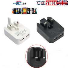 2A UK Mains Wall 3 Pin Plug Adaptor Charger with 2 USB Ports for Phones Tablets