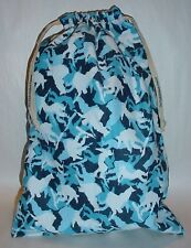 Multi Blues & White Snow Bourding Print Shoe Bag Dance Gym Travel