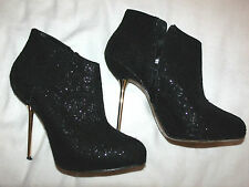 Sexy ~WILD PAIR~  Black Shimmery Sparkle Lace Gold Heel Shoe / Boot  8.5