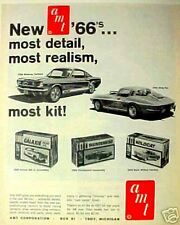 1965 TOY AD for 1966 AMT Corvette~Mustang~T-Bird~Galaxie~Wildcat Model Car Kits