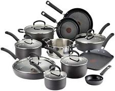 T-fal Hard Anodized Cookware Set, Nonstick Pots and Pans Set, 17 Piece, Thermo-S