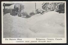 Postcard RIDGEWAY Ontario/CANADA  Snowed in Sweater Shop Promo Ad 1920's?