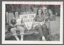 Vintage Photo Pretty Girls w/ Pet Cat & Spaniel Dog Lone Cow Ranch Sign 766414