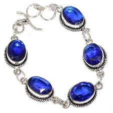 C0991 Free Shipping Superb # Blue Quartz Faceted Bracelet 7.6""