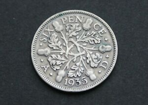 GB SILVER Sixpence – 1935 – Good Fine Condition (Je1)