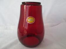 New Vintage DIETZ Ruby Red Glass Lantern Barn Lamp Shade Sticker USA Tiny Flaw