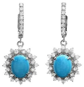 5.80Ct Natural Turquoise and Diamond 14K Solid White Gold Earrings