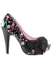 New Pin Up Couture Bettie 13 Dia De Los Muertos Print Peep Toe Bow Heels Size 9