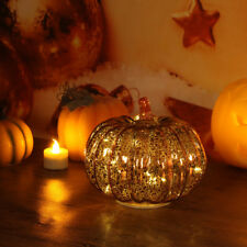 Glass LED Orange Pumpkin Halloween Thanksgiving Holiday Decoration With Timer