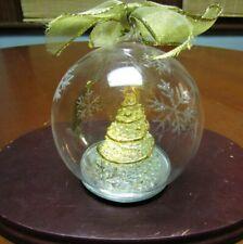 "Vintage Lenox Glass Christmas Tree Ornament- Snowflakes- Lights Up- Works ~4.5"""