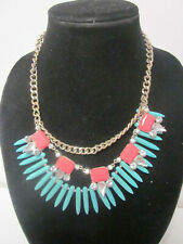 Bead Silver Tone Choker Necklace Vintage Blue Turquoise & Pink Color