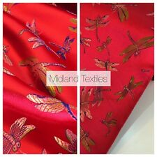"""CHINESE ORIENTAL GOLD DRAGONFLY BROCADE SILKY SATIN DRESS FABRIC 44"""" M163"""