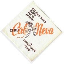 Cal Neva Hotel Casino Downtown Reno Vintage Cocktail Napkin $25K Keno Slots Food