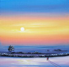 SARAH FEATHERSTONE ORIGINAL ART SIGNED CANVAS OIL PAINTING, Winter Sky, Our Walk